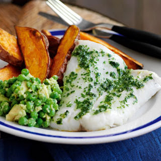 Healthier Fish With Sweet Potato Chips.