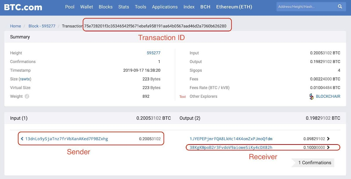Screenshot of a transaction from the BTC.com block explorer