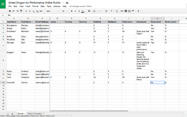 Online Rubric - Google Sheets Add-On