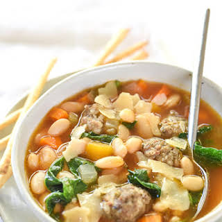 Slow Cooker Tuscan White Bean and Sausage Soup.