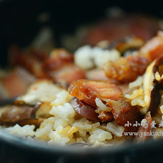 Clay pot rice with Asian sausage, pork jerky and shitake mushroom