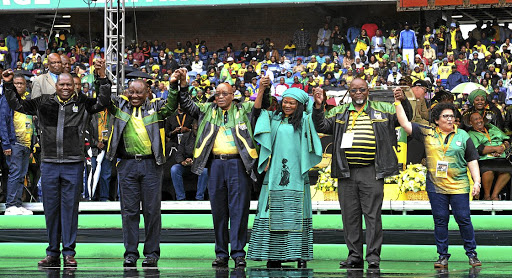 Zweli Mkhize, Cyril Ramaphosa, Jacob Zuma, Baleka Mbete, Gwede Mantashe and Jessie Duarte greet supporters at the ANC's January 8 anniversary celebrations. Picture: GALLO IMAGES
