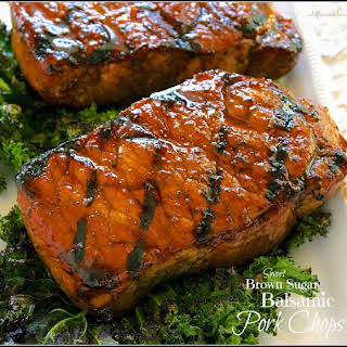 Caramelized Balsamic & Brown Sugar-Glazed Pork Loin Chops.