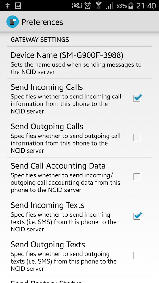 NCID Sender- screenshot