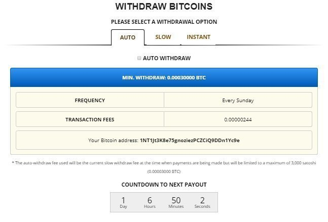 Withdraw funds to Freebitcoin