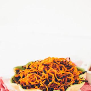 "Spiralized Garlic-Paprika Sweet Potato ""Fries"" Recipe"