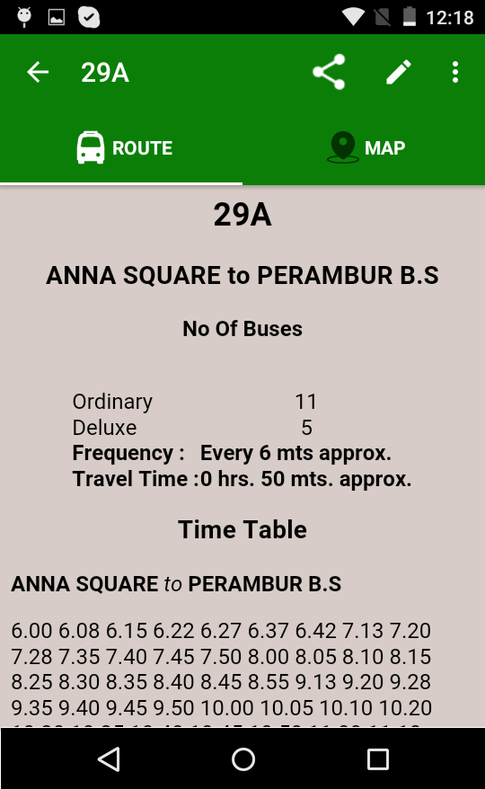 MTC bus route- screenshot