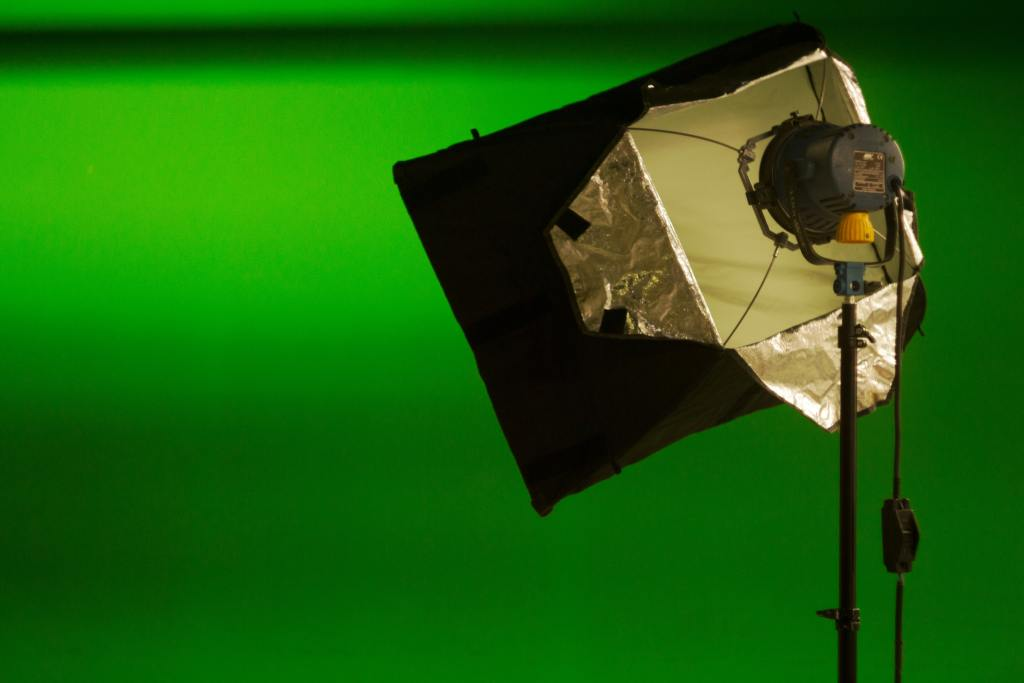 This is an example of a green screen set up.