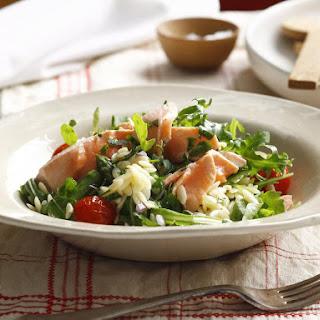 Poached Salmon and Orzo Salad.