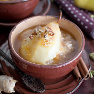 Coconut Rice Pudding with Cardamom Spiced Honey Pears.