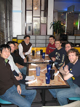 Photo: Farewell Party for Jigar! He worked on bacterial transportation  system during his BS/MS program at Drexel, and will work in the DuPont as a R/D manager. From left, Liang, Ed, Jigar, Prof. Kim, Steve, Michael, Dave, Bill (Dec. 2007).
