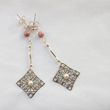 粉紅捷克石耳環