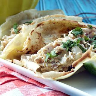 Crockpot Hatch Chile Chicken Tacos.