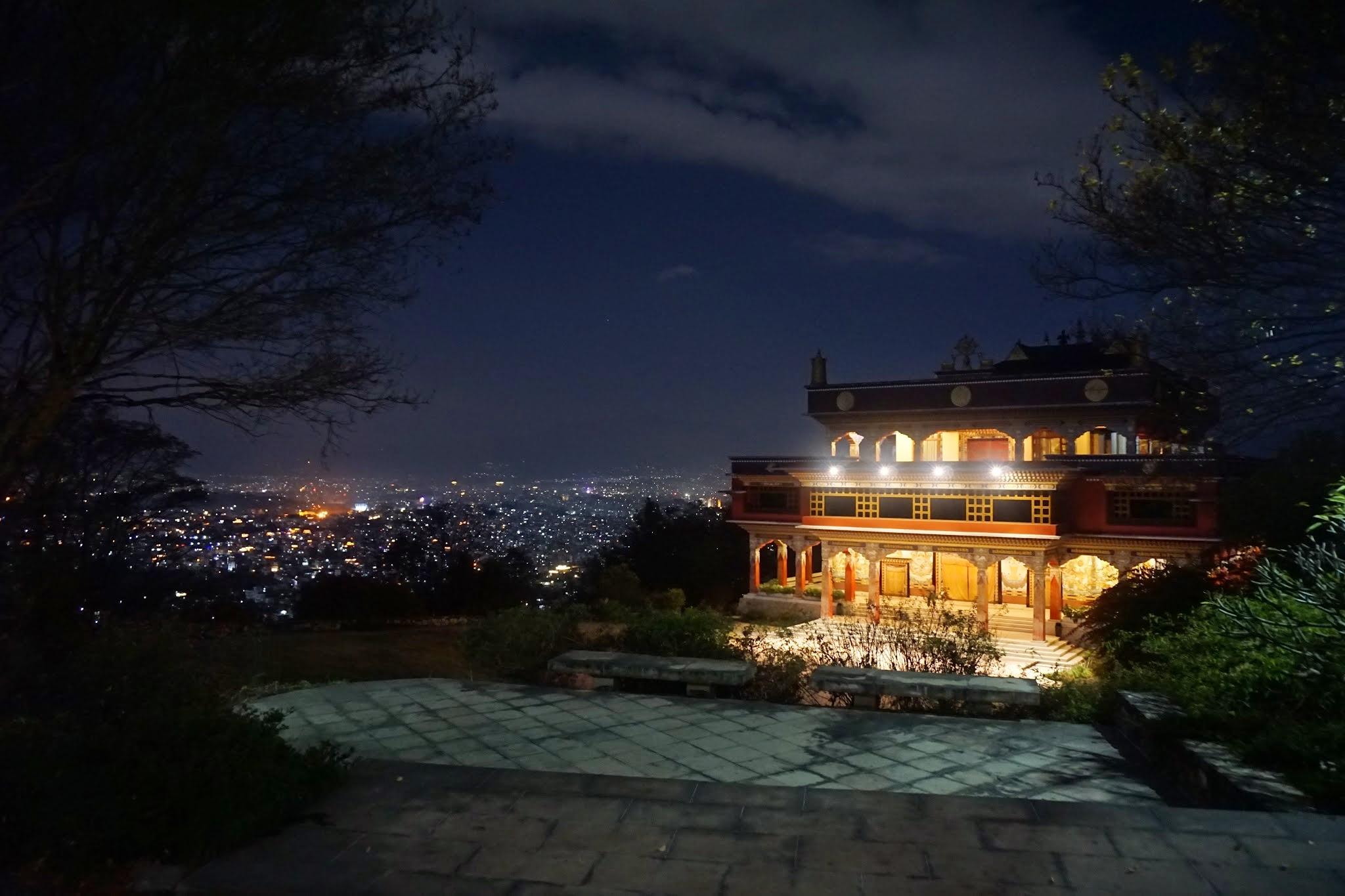 Photo: Rigpe Dorje Institute and Boudha at night