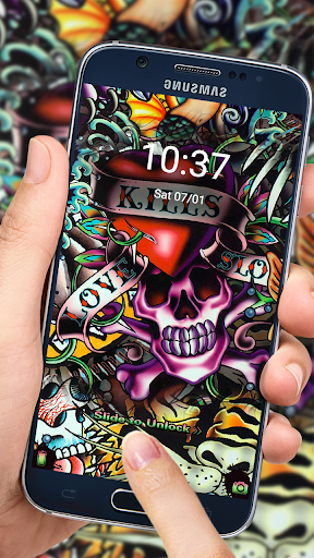 Rock Skull Graffiti Theme & Lock Screen & Call  screenshots 3