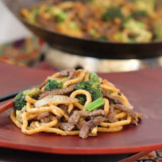 Black Pepper Beef with Broccoli and Noodles.