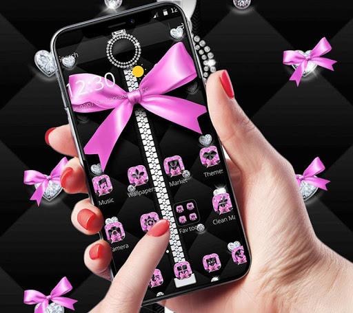 Pink Black Minny Bowknot Theme 1.1.1 screenshots 1