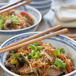Korean Beef and Vegetable Noodle Bowl.