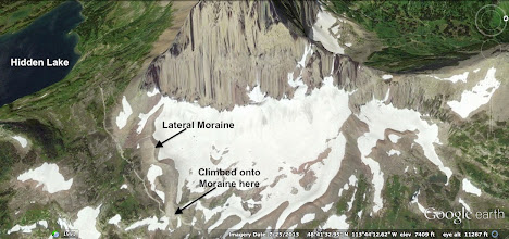 Photo: Here is Mt. Clemens and the moraine that we walked on our way to Hidden Lake.