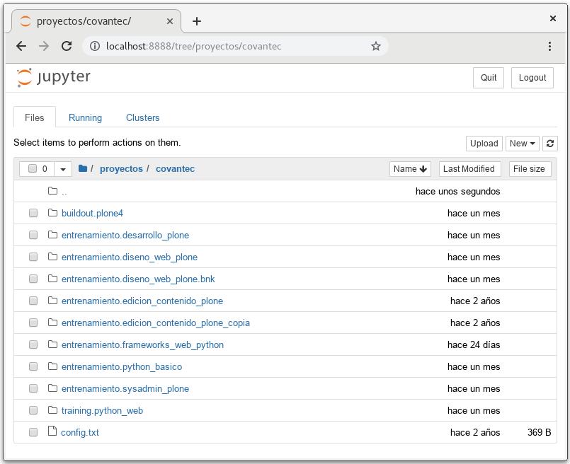 Interfaz de Jupyter Notebookcorriendo