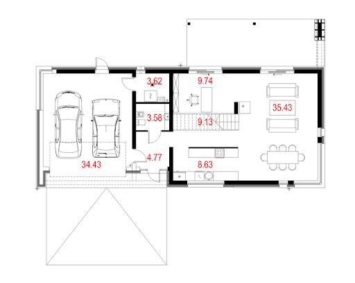 House 01 - Rzut parteru