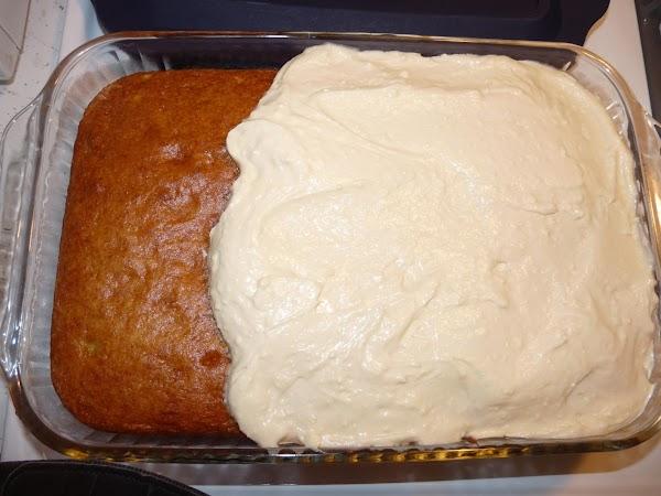 Blend together frosting ingredients until smooth. Spread on slightly warm or cooled cake.