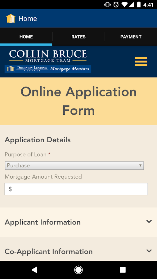 The Collin Bruce Mortgage App- screenshot