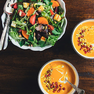 Spiced Carrot and Pear Soup w/ Pistachios, Pomegranate Seeds, and a Yogurt-Tahini Swirl