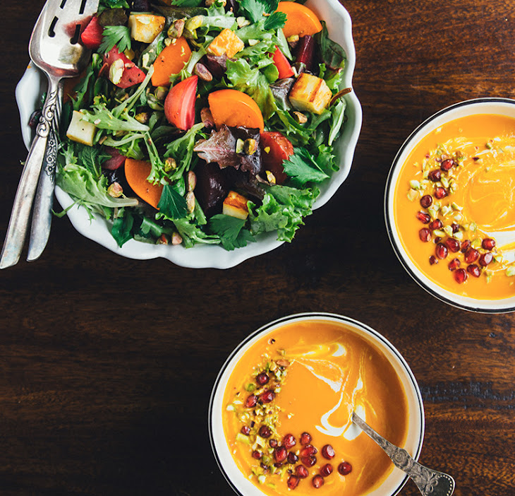 Spiced Carrot and Pear Soup w/ Pistachios, Pomegranate Seeds, and a ...