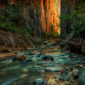 In The Narrows ( Antiqued) by Kent Moody - Landscapes Caves & Formations ( water, stream, national park, narrows, creek, canyon, zion, river,  )