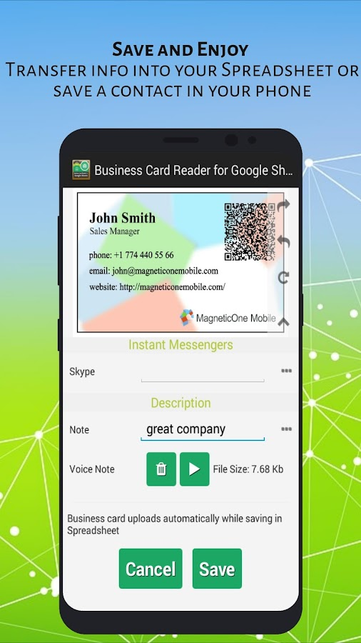 Free Business Card Reader for Google Sheets- screenshot