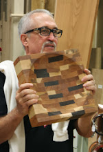 Photo: Mike Radtke made this cutting board for a mezzaluna cutter.  He says that his wife will also turn it over and chop on the flat side, as with the pizza.
