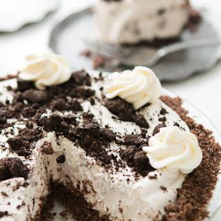 No Bake Oreo Pie with Chocolate Graham Cracker Crust.