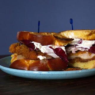 Chicken Schnitzel Sandwich with Horseradish Cream and Radicchio.