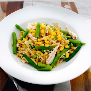 Whole-Wheat Orzo Chicken Salad with Roasted Corn & Green Beans.