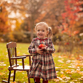 beautiful autumn by Melissa Marie Gomersall - Babies & Children Toddlers ( red, orange, apple, green, chair, tddler, baby, snow white, autumn, cute )