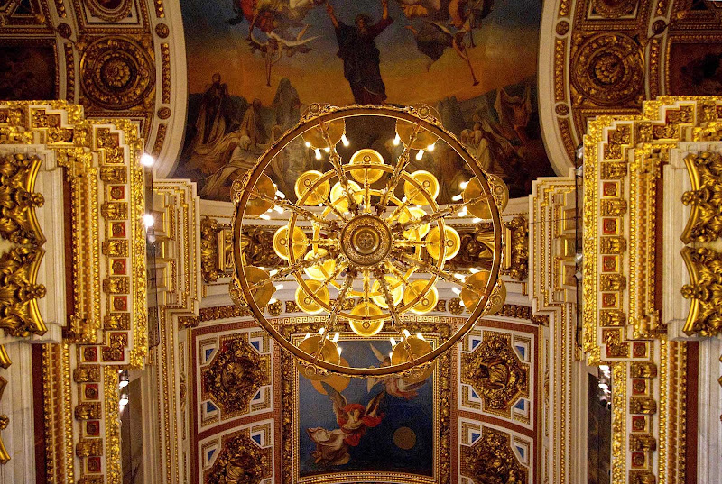View of the ceiling in Saint Isaac's Cathedral in St.Petersburg, Russia.