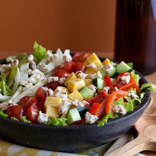 """Greek Salad with Pickled Beet """"Olives"""""""