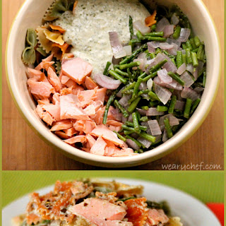 Pesto Pasta Salad with Smoked Salmon and Roasted Asparagus.