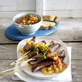 Beef Kebabs with Pineapple and Tomato Salsa.