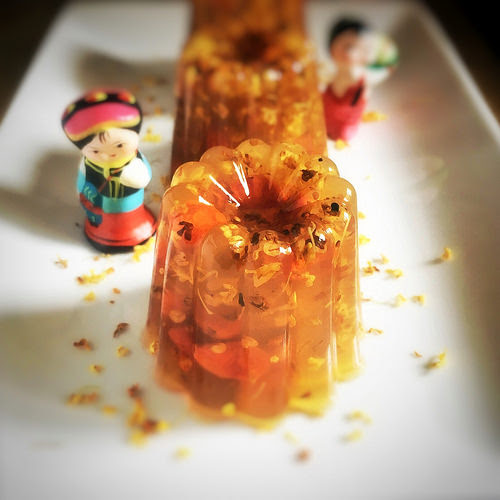 Osmanthus, Flower, dessert, chinese, recipe, wolfberry, goji, Jelly, 桂花糕, mid autumn festival, cake, traditional, 桂花, 瓊脂, 杞子