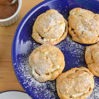 Chocolate Peanut Butter Cream Filled Whole Wheat Cream Puffs.