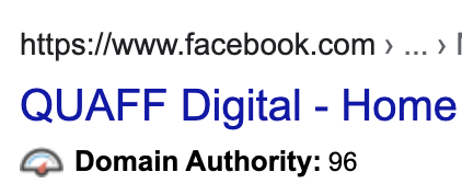 Facebook Domain Authority - improving your google ranking