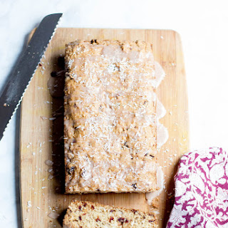 Coconut Cranberry Bread // Coffee Glaze