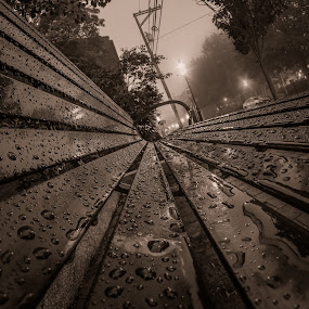Bench and Droplets by Michael Otero - City,  Street & Park  Street Scenes ( water, fisheye, partial color, black and white, fine focus, reflections, round, details, fog, 30 second shutter, split toning, night, long exposure )