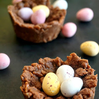 Chocolate rice krispie Easter egg nests.