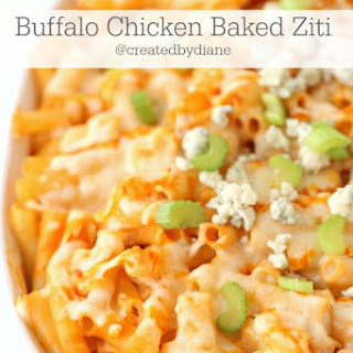 I will mentioned I chose the HOTTEST day of the week to turn on my oven to bake this, and our air conditioning went out.Buffalo Chicken Baked Ziti