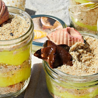 Mason Jar Beach Sand Pudding with Chocolate Shells