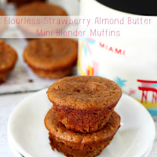 Flourless Strawberry Almond Butter Mini Blender Muffins