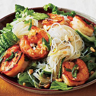 Vietnamese Salt and Pepper Shrimp Rice Noodle Bowl (Bun Tom Xao).